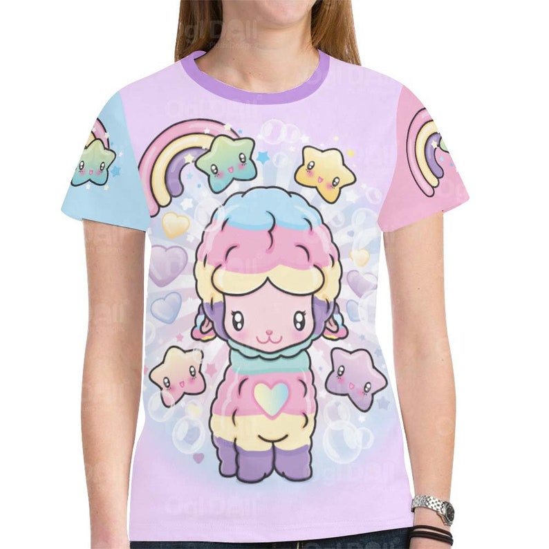 76266da2b4e27d Cute Kawaii T-Shirt Pastel Rainbow Llama Tee Fairy Kie