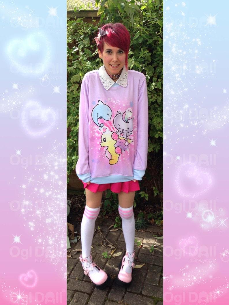 e4fdf3bfd406b2 Kawaii Sweater Cute Mermaid Cat Sweatshirt Pastel Pink