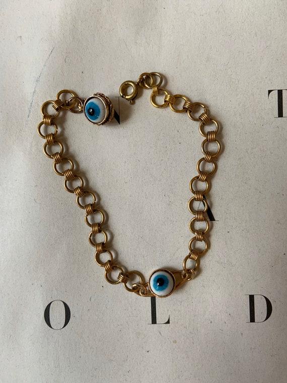 Vintage Evil Eye Charm Bracelet