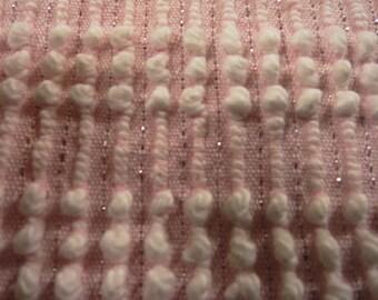 "INVENTORY  SALE...Pink Pearls Morgan Jones Vintage Chenille, Silver Lurex Thread Bedspread Fabric Piece...12 x 18"""