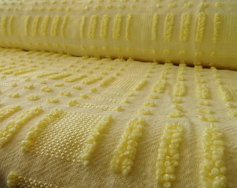 "Yellow Morgan Jones Dot Dash Vintage Chenille Bedspread Fabric Piece...18 x 20"""