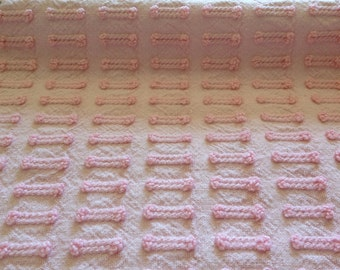 "Vintage Chenille Bedspread Fabric Pink Morgan Jones Buttonhole...12 x 19"""