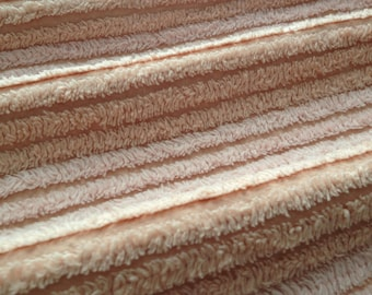 """Pink and Peach Plush Chenille Vintage Bedspread Fabric Piece...13 x 18"""""""