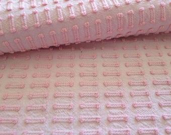 "Vintage Chenille Bedspread Fabric Pink Morgan Jones Buttonhole...12 x 18"""