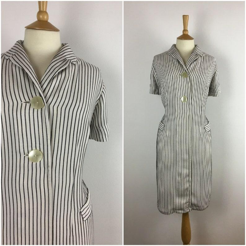 688542aaeae Vintage 1950s Dress 50s Pinstripe Cotton Wiggle Dress 50s