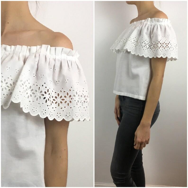 284f89277a41 Vintage 1970s Blouse Off Shoulder Boho Top 70s White