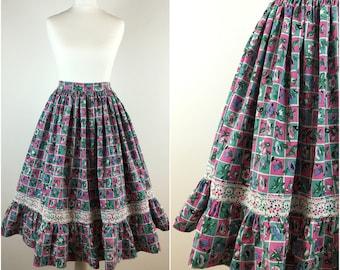 Vintage 1950s Skirt - 50s Cotton Floral Swing Skirt - 1950s Circle Skirt - Full Skirt - Rockabilly Pinup - Small - UK 8 / US 4 / EU 36