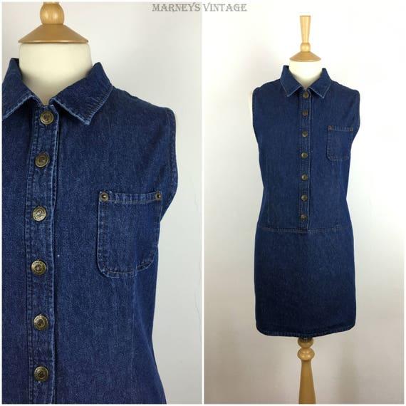 Vintage Blue Denim Dress CULTURE Blue Jeans Dress Cotton Dress Size XL Three quarter Balloon Sleeves Denim Dress with Pockets