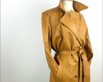 Vintage Long Leather Trench Coat - 1970s Spy Coat - Double Breasted Military Style Coat - Large - UK 16 / US 12 / EU 44