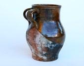 Beautifully half glazed Italian terracotta double handled jug