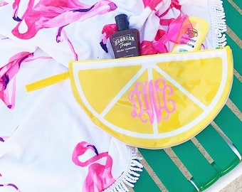 Monogram Waterproof Lemon Zipper Pouch