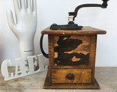 Antique Wood Coffee Grinder With Shannon Clip Cast Iron Works, Dove Tail Joinery, Farmhouse Kitchen