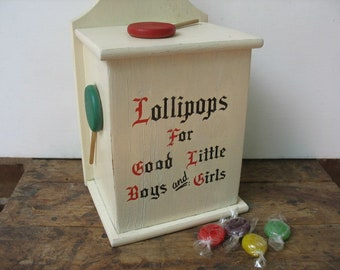 Vintage Lollipop Box For Good Boys And Girls, Doctor's Office Reward,  Retro Candy Suckers Box Decor