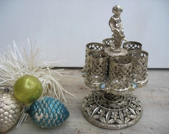 Vintage SF Lipstick Caddy Holder Silver Filigree With Gemstones Cherub Sam Flink Mid Century Modern Holds 6