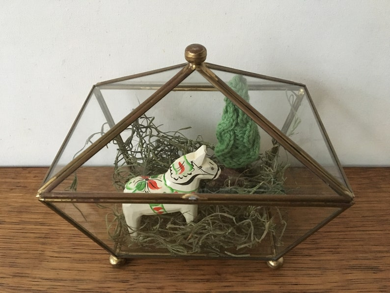 Vintage Glass Terrarium Glass And Brass Curio Case Figurine Etsy