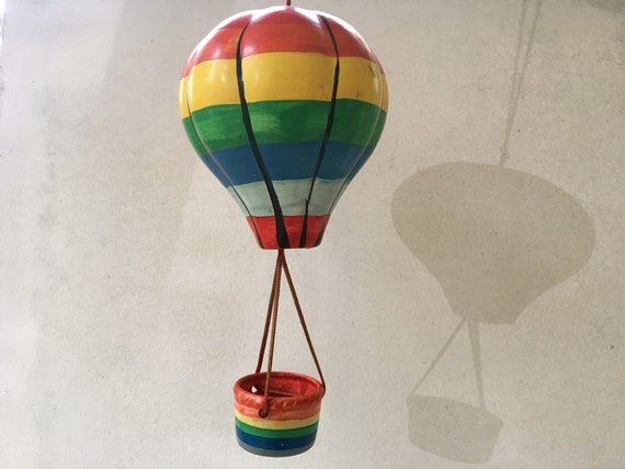 Vintage Rainbow Ceramic Hot Air Balloon Wind Chime Etsy