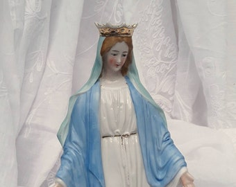 Vintage Virgin Mary , French Vintage,  Religious Collectable, Virgin Mary Statue, Object Of Devotion, Christian, Shabby Decor, Christianity