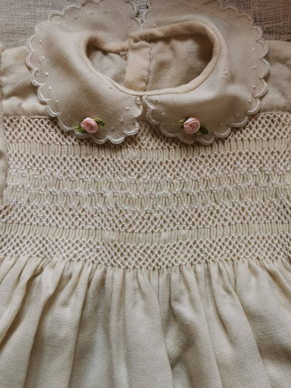 French vintage, hand smocked child's dress. Hand e