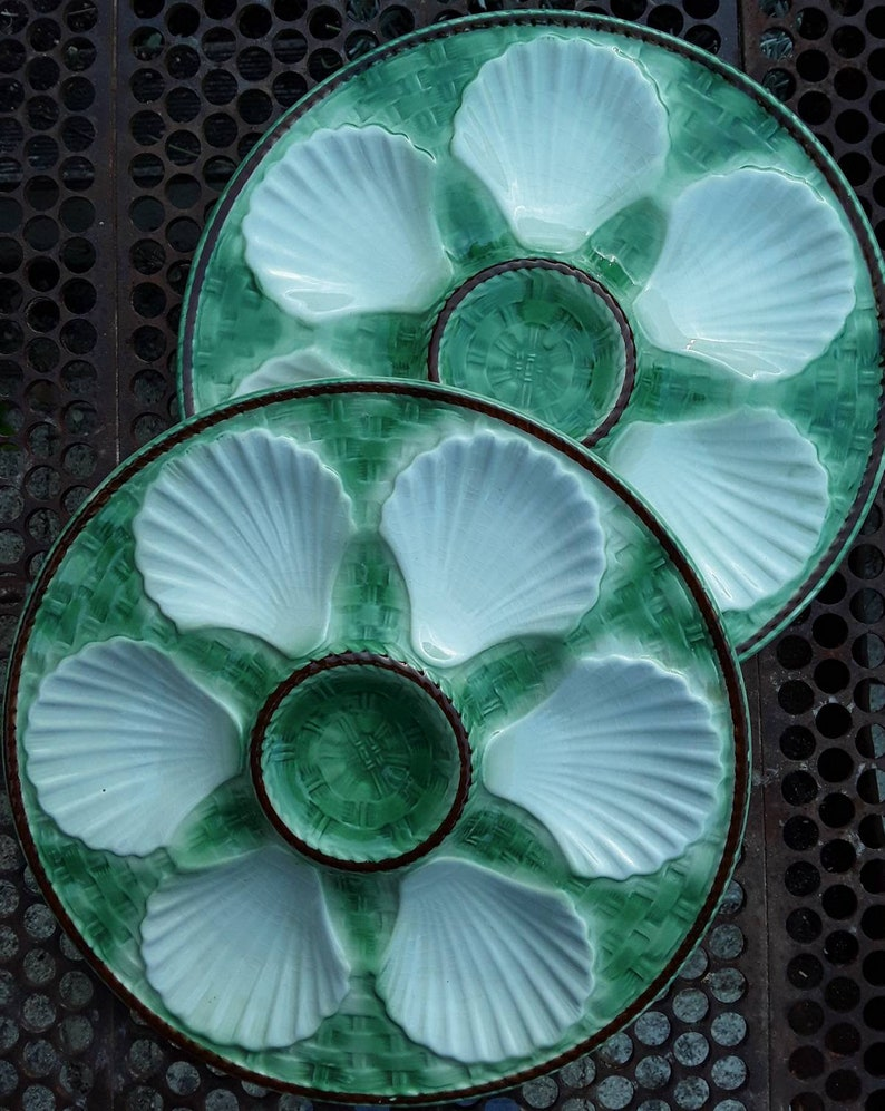 2 Oyster Plates French Vintage Teal green.