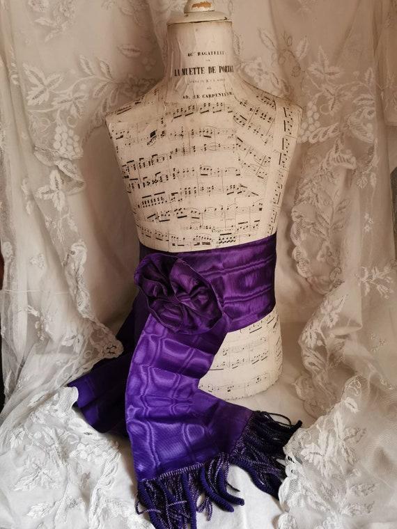 Antique ceremonial ribbon, purple moiré ribbon.