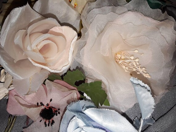 Old French Roses Silk Flowers Antique Flowers Hats Silk Etsy