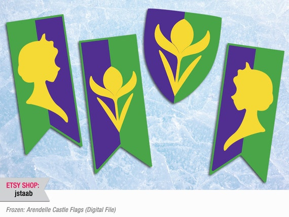 Frozen Party 11x17 Arendelle Castle Flags Digital File Etsy