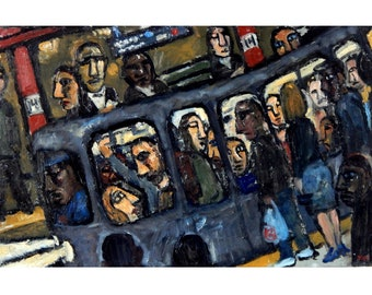 Original Oil Painting - Night Train/NYC- 12x19 Oil on Linen, New York Subway Scene, Contemporary Expressionist Painting, Signed Original