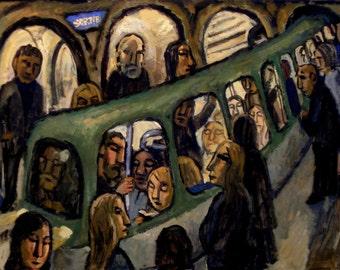 Large Oil Painting -Romanesque/Metro de Paris- 18x24 Oil on Canvas, Modern Urban Industrial Subway Painting, Signed Original Fine Art