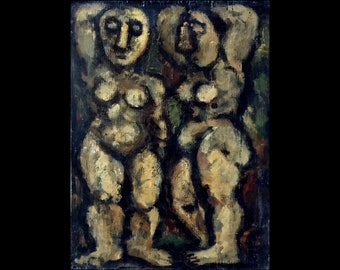 Original Painting -Two Female Nudes- Oil on Panel, 9x12 Modern Expressionist Fine Art, Signed Original Contemporary Artwork