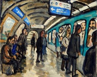 Original Oil Painting - Dans le Metro de Paris - 8x10 Oil on Canvas, Urban Expressionist Subway Scene, Signed Original Contemporary Fine Art