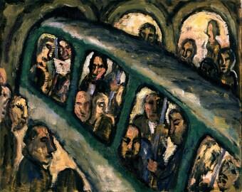 Original Oil Painting, Metro Curve, Paris. Original 8x10 Urban Expressionist Oil Painting, Signed Original Modern Fine Art