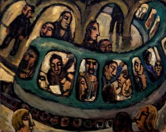 Original Oil Painting - Night Metro/Paris - Oil on Canvas, 16x20 Contemporary Subway Scene, Signed Original Expressionist Fine Art