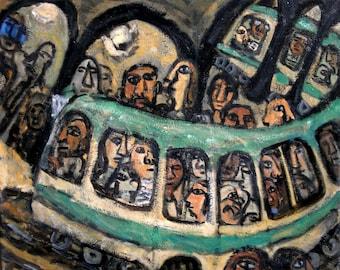 Large Original Oil Painting, Dans Le Métro, Paris. 20x24 on Linen, Original Contemporary Modern Subway Scene, Signed Original Fine Art