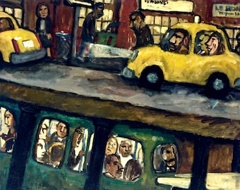 Original New York City Painting - Over and Under/NYC - 16x20 Oil on Canvas, Contemporary Subway Scene, Modern Expressionist Fine Art