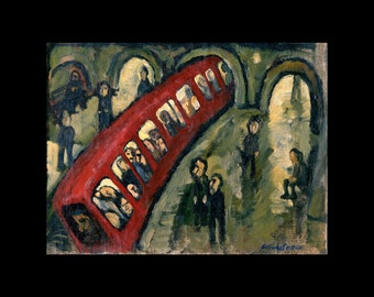 Original Oil Painting - Red Metro/Paris - Contemporary 6x8 inch Subway Scene, Modern Expressionist Oil, Signed Original Fine Art