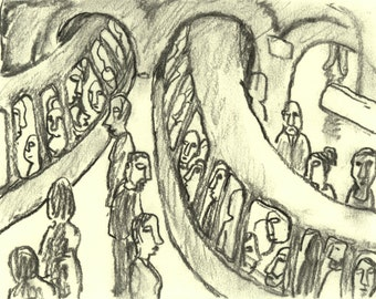 Original 6x8 Charcoal Drawing - Metro Curve - Modern Expressionist Urban Subway Fine Art, Contemporary Artwork, Signed Original