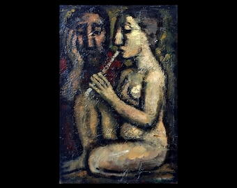 Original Painting -King and Muse- Small Oil on Canvas, 8x12 Modern Expressionist Fine Art, Signed Original Contemporary Artwork