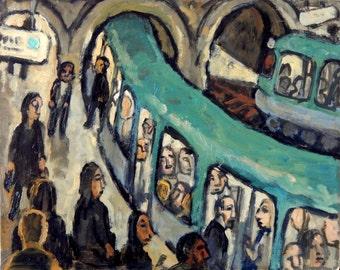 Original Oil Painting, Curves and Arches/Metro de Paris. 8x10 Urban Expressionist Oil on Panel, Signed Original Modern Subway Fine Art