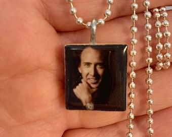 Onetruegod Unique Nic Cage Fan Gift Nicolas Cage Long Hair Con Air National Treasure Cufflinks Square Shape Leonardo da Vinci In Gift Box