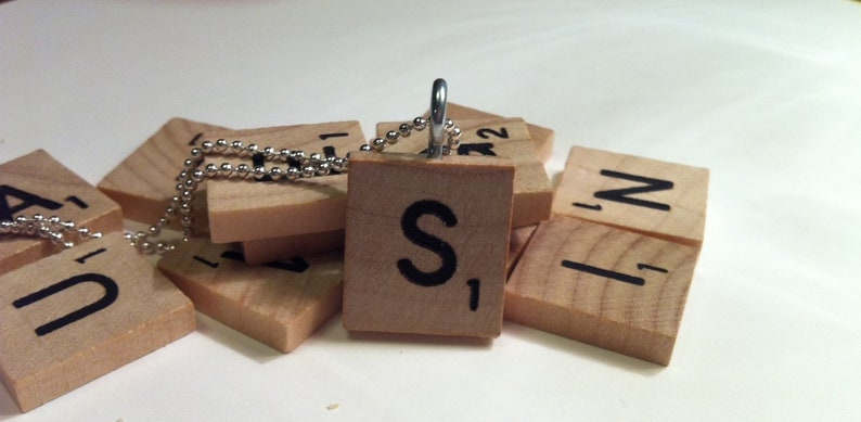 American Gothic Scrabble Tile Pendant With Silver Plated Ball Chain