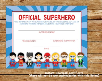 photograph about Superhero Certificate Printable called Superhero printable Etsy