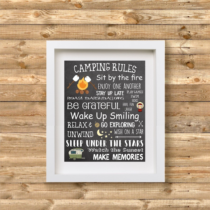 Camp Rules Sign Camping Rules Printable Wall Art Glamp image 0