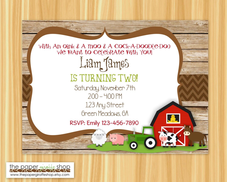 Farm Birthday Invitation Rustic Farm Birthday Party Farm | Etsy