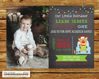 Reindeer Chalkboard Invitation   Reindeer Birthday Invitation   1st Birthday   Reindeer Games Party   Winter Onederland   Green