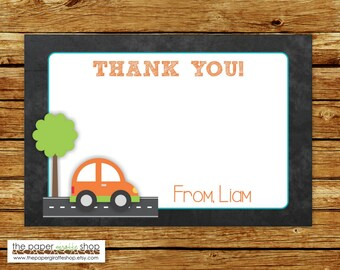 Car Thank You Card | Cute Car Birthday Party Thank You Card | Cute Car Party Thank You Card