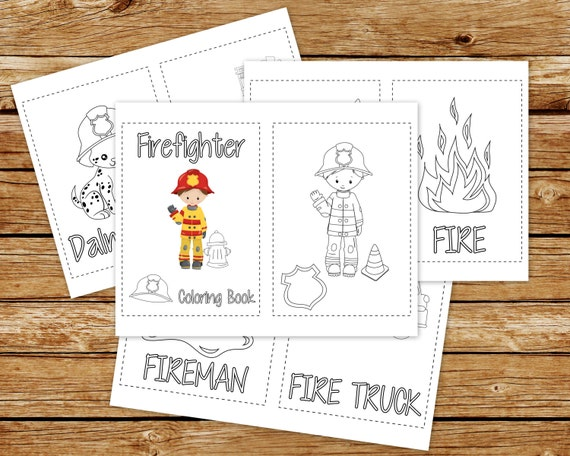 Firefighter Coloring Book Printable | Fireman Birthday Party Coloring Book  | Coloring Book Party Favor | Instant Download PDF | Fire Truck
