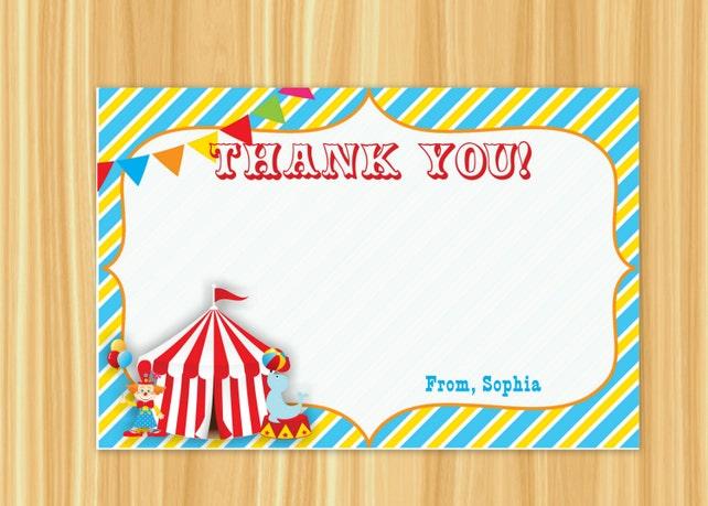 Circus Thank You Card Carnival Thank You Card
