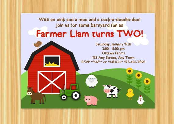 farm invitation barnyard invitation farm birthday party etsy