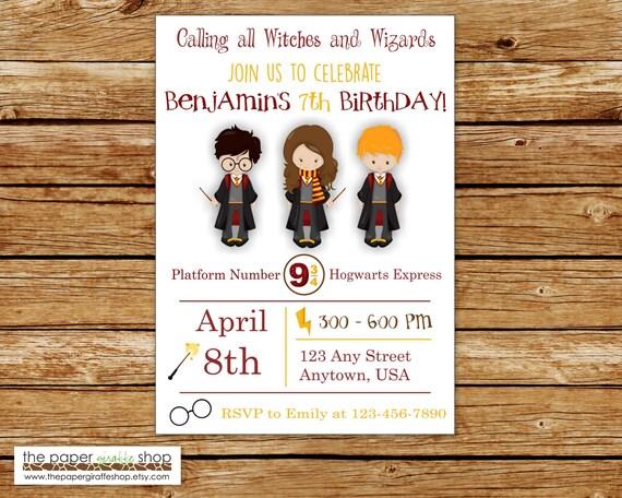 Harry Potter Zaproszenie Harry Potter Urodziny Zaproszenie Etsy