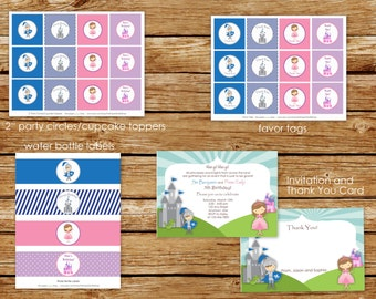 Knight and Princess Birthday Party Package | Knight and Princess Birthday Invitation | Party Decorations | Cupcake Toppers, Banner | Twins